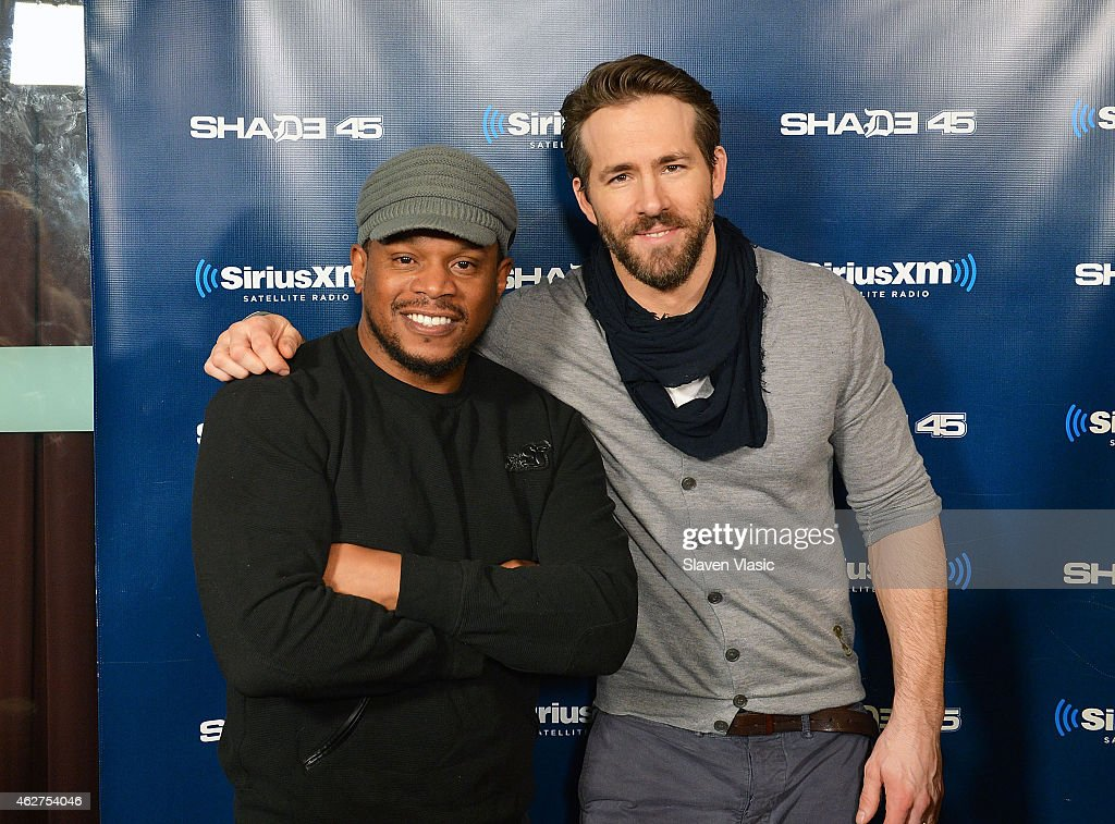 Radio host and TV personality Sway (L) and actor <a gi-track='captionPersonalityLinkClicked' href=/galleries/search?phrase=Ryan+Reynolds&family=editorial&specificpeople=204149 ng-click='$event.stopPropagation()'>Ryan Reynolds</a> visit Shade 45/Sway at SiriusXM Studios on February 4, 2015 in New York City.