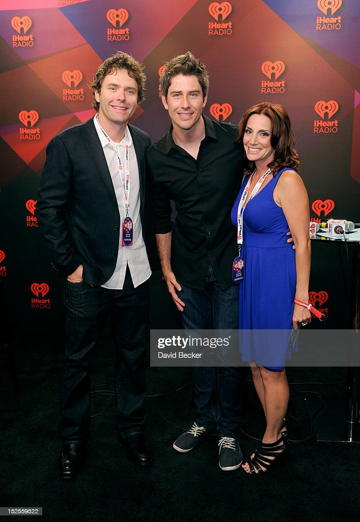 Radio host Bobby Bones, <a gi-track='captionPersonalityLinkClicked' href=/galleries/search?phrase=Arie+Luyendyk&family=editorial&specificpeople=216538 ng-click='$event.stopPropagation()'>Arie Luyendyk</a> Jr. and radio host Danielle Monaro pose in the Elvis Duran Broadcast Room during the 2012 iHeartRadio Music Festival at the MGM Grand Garden Arena on September 21, 2012 in Las Vegas, Nevada.