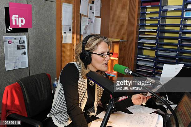 Radio host Jane Villenet on FIP radio mostly devoted to music and only and part of the group Radio France poses in a studio on January 5 2011 in...