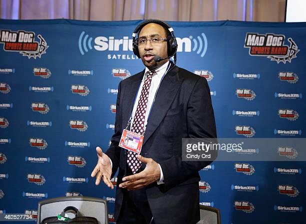 Radio host Stephen A Smith attends SiriusXM at Super Bowl XLIX Radio Row at the Phoenix Convention Center on January 30 2015 in Phoenix Arizona