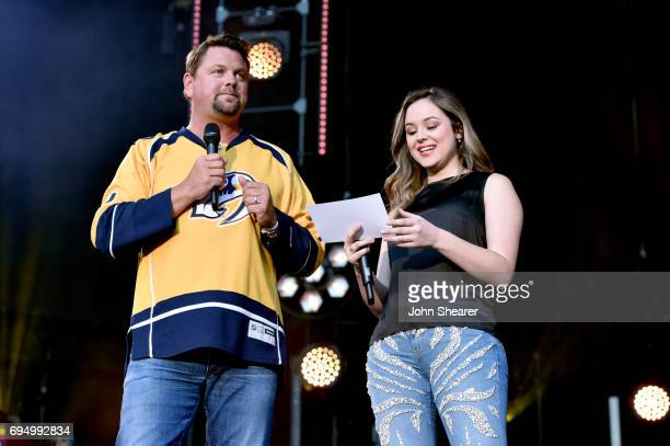 Radio host Storme Warren and actress Hayley Orrantia speak onstage for day 4 of the 2017 CMA Music Festival on June 11 2017 in Nashville Tennessee