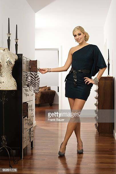 Radio host Verena Kerth poses for a photo at her home on December 18 2009 in Munich Germany