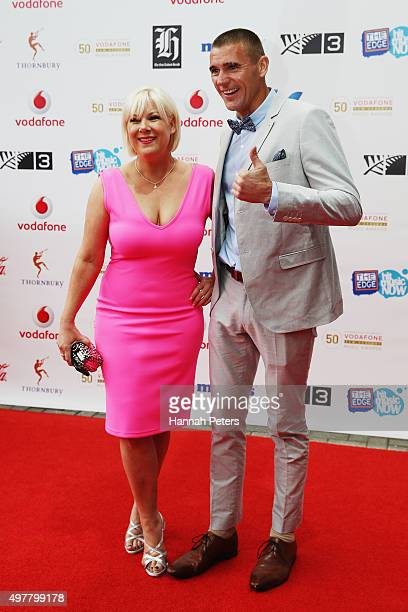 Radio hosts JayJay and Dominic Harvey pose for a photo on the red carpet at the Vodafone New Zealand Music Awards at Vector Arena on November 19 2015...