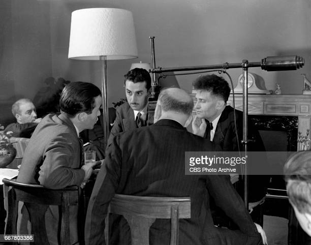 Radio news roundtable discussion What Next In Europe Seated at table from left CBS correspondent Edward R Murrow CBS News reporter Robert Trout CBS...