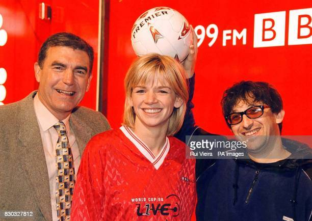 Radio One breakfast show host Zoe Ball with Lightening Seeds star Ian Broudie and former footballer Trevor Brooking during a photocall at the NEC in...