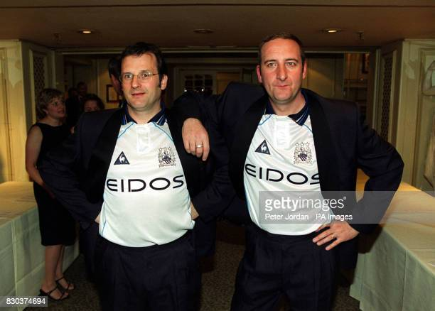 Radio One Breakfast Show presenters Mark Radcliffe and Marc 'Lard' Riley arriving for the Sony Radio Awards 2000 at Grosvenor House London *19/02/04...