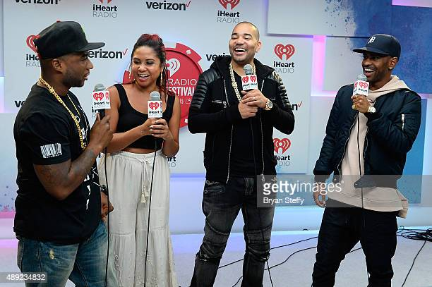 Radio personalities Charlamagne Tha God Angela Yee and DJ Envy of The Breakfast Club and rapper Big Sean attend the 2015 iHeartRadio Music Festival...