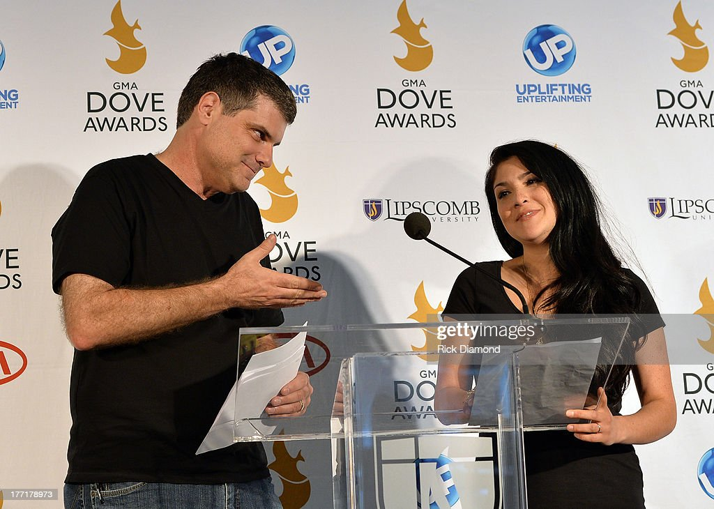 Radio Personalities Doug and <a gi-track='captionPersonalityLinkClicked' href=/galleries/search?phrase=Jaci+Velasquez&family=editorial&specificpeople=2796906 ng-click='$event.stopPropagation()'>Jaci Velasquez</a> announces nominations for The 44th Annual GMA Dove Awards Nominations Press Conference at Allen Arena, Lipscomb University on August 21, 2013 in Nashville, Tennessee.