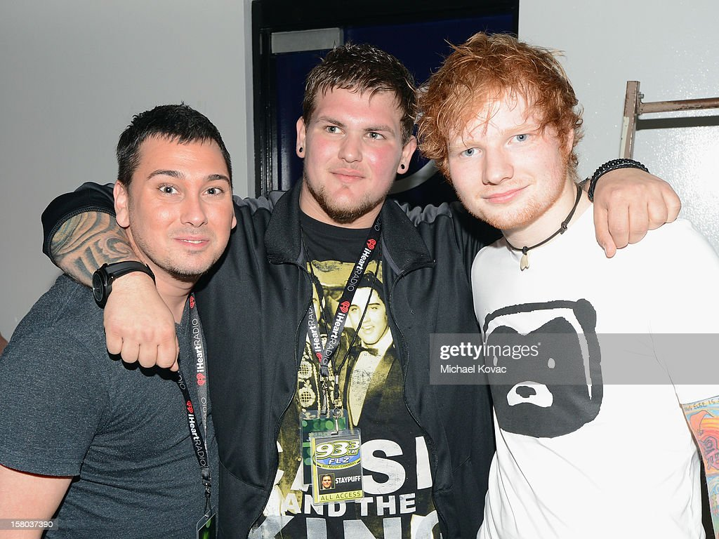 Radio personalities Ratboy, Staypuff and musician <a gi-track='captionPersonalityLinkClicked' href=/galleries/search?phrase=Ed+Sheeran&family=editorial&specificpeople=7604356 ng-click='$event.stopPropagation()'>Ed Sheeran</a> backstage at 93.3 FLZ's Jingle Ball 2012 at Tampa Bay Times Forum on December 9, 2012 in Tampa, Florida.
