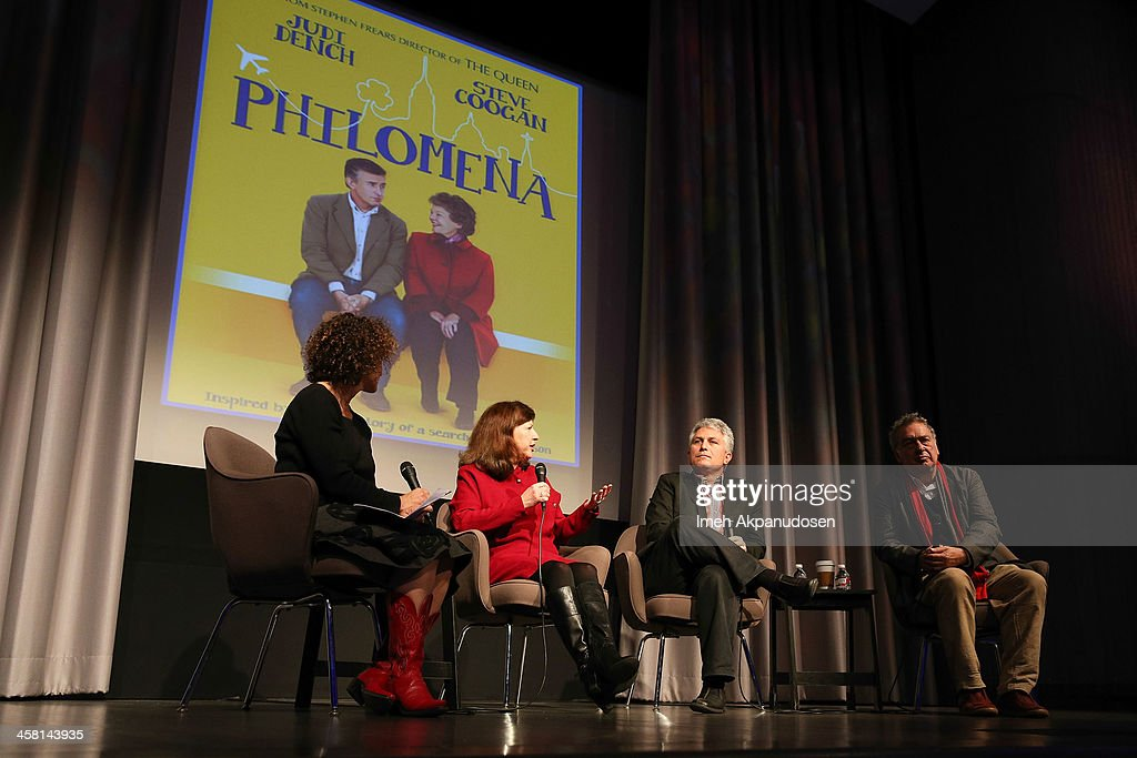 Radio personality Alex Cohen, USC Media and Religion Knight Chair Diane Winston, author Craig Detweiler, and director Stephen Frears speak onstage during a Q&A at the 'Philomena' Town Hall Event and Screening at Museum Of Tolerance on December 19, 2013 in Los Angeles, California.