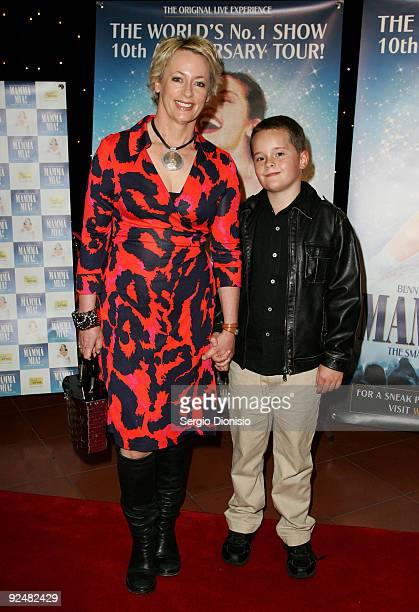 Radio personality Amanda Keller and her son Leaham arrives for the premiere of 'Mamma Mia' at the Lyric Theatre Star City on October 29 2009 in...