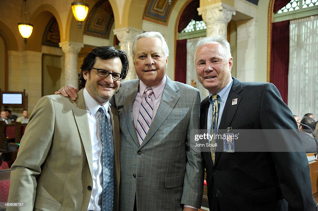 Radio personality Ben Mankiewicz actor Robert Osborne and Councilman Tom LaBonge attend the declaration of TCM Day by Hollywood Commission at Los...