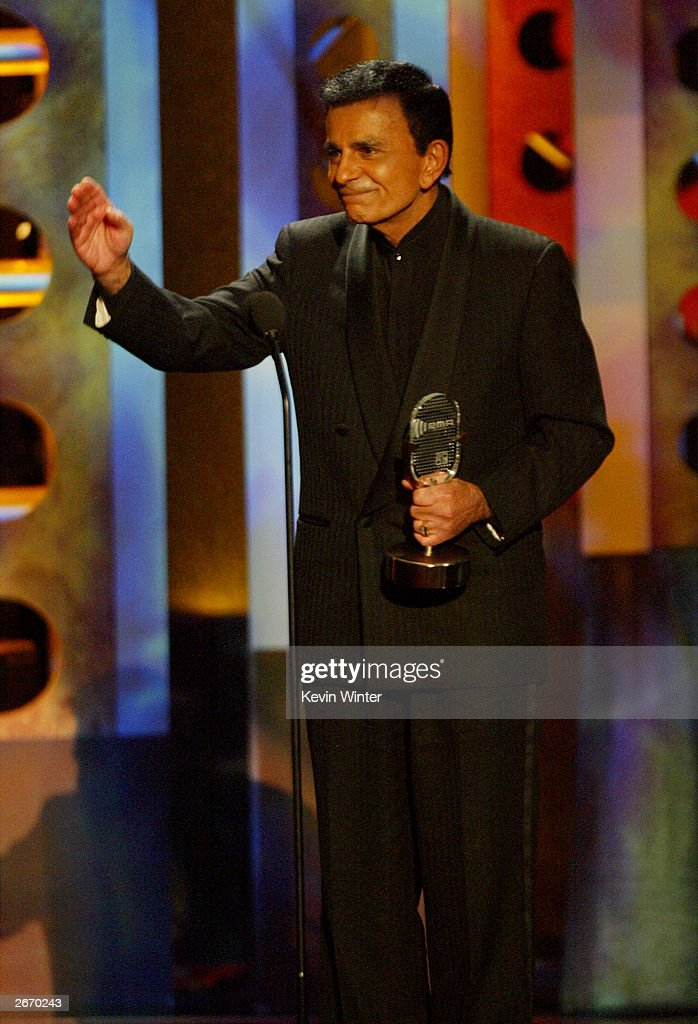 Radio personality Casey Kasem accepting award on stage at The 2003 Radio Music Awards at the Aladdin Casino Resort October 27, 2003 in Las Vegas, Nevada.