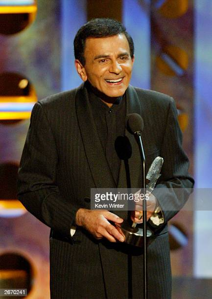 Radio personality Casey Kasem speaks on stage at The 2003 Radio Music Awards at the Aladdin Casino Resort October 27 2003 in Las Vegas Nevada