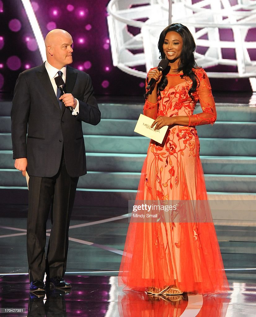 Radio personality Chet Buchanan and Miss USA 2012 <a gi-track='captionPersonalityLinkClicked' href=/galleries/search?phrase=Nana+Meriwether&family=editorial&specificpeople=4594046 ng-click='$event.stopPropagation()'>Nana Meriwether</a> host the 2013 Miss USA preliminary competition at PH Live at Planet Hollywood Resort & Casino on June 12, 2013 in Las Vegas, Nevada.