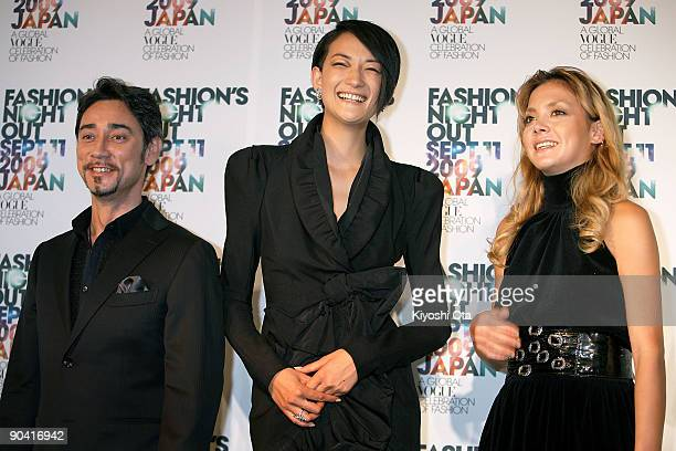 Radio personality Chris Peppler model Ai Tominaga and singer Anna Tsuchiya pose during the 'Fashion's Night Out' press conference at Vector Lounge on...