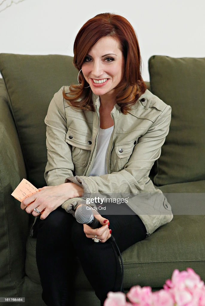 Radio personality Danielle Monaro Of 'Elvis Duran and the Morning Show' poses prior to her exclusive interview with Adam Levine at The Mercer Hotel on February 15, 2013 in New York City.