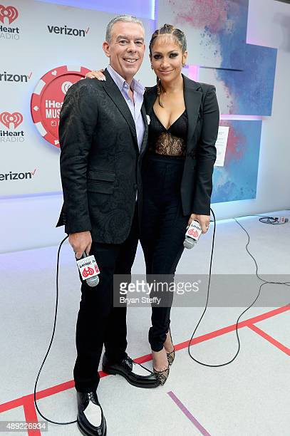 Radio personality Elvis Duran and Jennifer Lopez attend the 2015 iHeartRadio Music Festival at MGM Grand Garden Arena on September 19 2015 in Las...