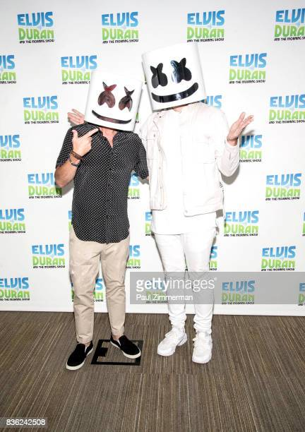 Radio personality Elvis Duran and Marshmello pose during 'The Elvis Duran Z100 Morning Show' at Z100 Studio on August 21 2017 in New York City