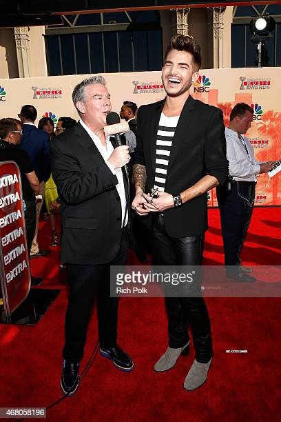 Radio personality Elvis Duran and singer Adam Lambert attend the 2015 iHeartRadio Music Awards which broadcasted live on NBC from The Shrine...
