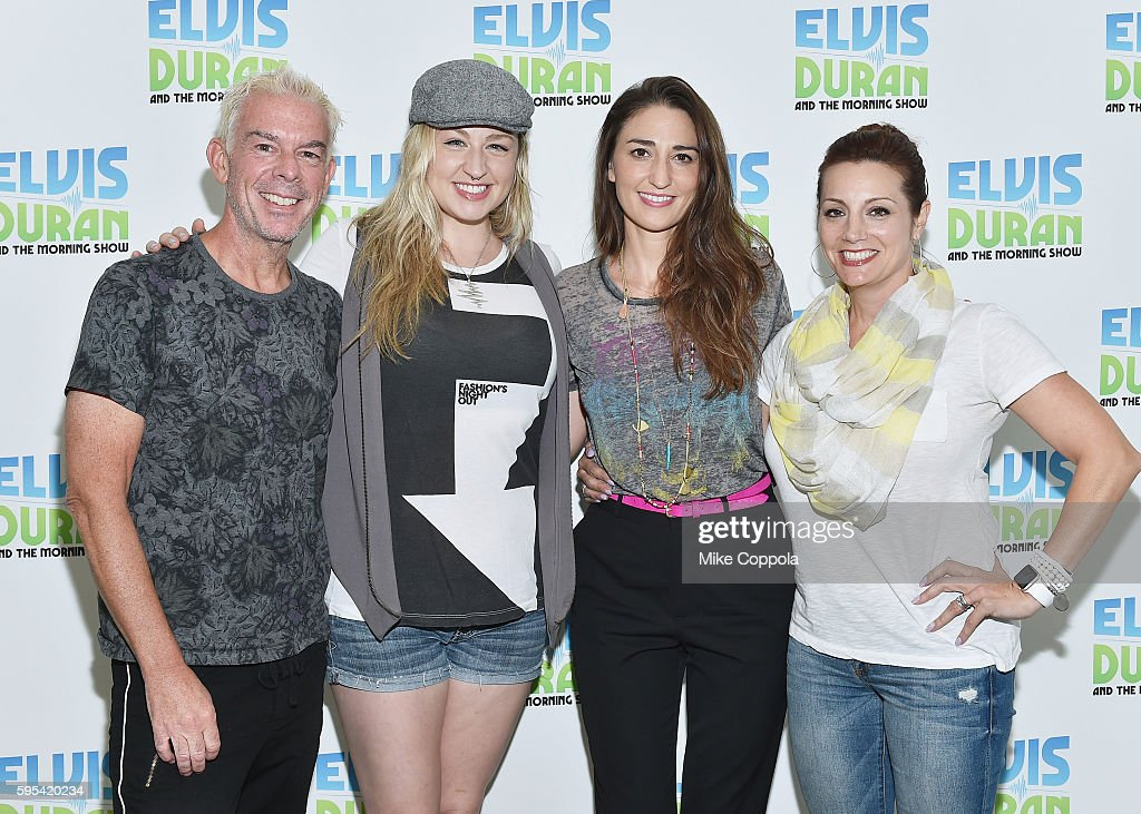 Radio personality Elvis Duran, Bethany Watson, Singer/songwriter Sara Bareilles, and Danielle Monaro pose for a picture during 'The Elvis Duran Z100 Morning Show' at Z100 Studio on August 24, 2016 in New York City.