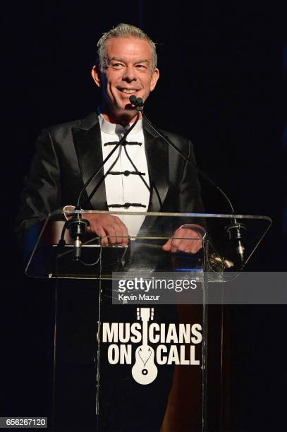 Radio personality Elvis Duran speaks onstage during A Night To Celebrate Elvis Duran presented by Musicians On Call at The Edison Ballroom on March...