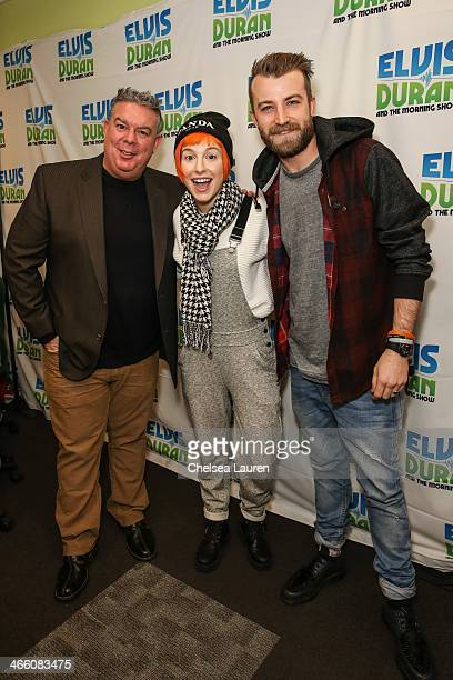 Radio personality Elvis Duran vocalist Hayley Williams of Paramore and bassist Jeremy Davis of Paramore visit the Elvis Duran Z100 Morning Show at...