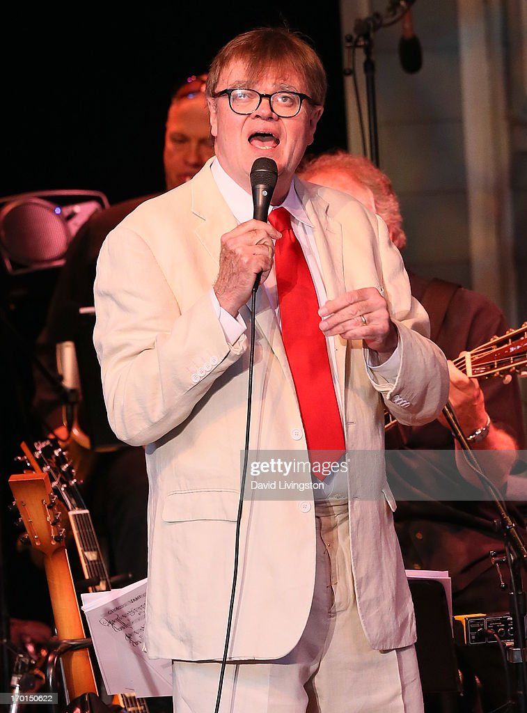 Radio personality <a gi-track='captionPersonalityLinkClicked' href=/galleries/search?phrase=Garrison+Keillor&family=editorial&specificpeople=594099 ng-click='$event.stopPropagation()'>Garrison Keillor</a> of A Prairie Home Companion performs at the Greek Theatre on June 7, 2013 in Los Angeles, California.