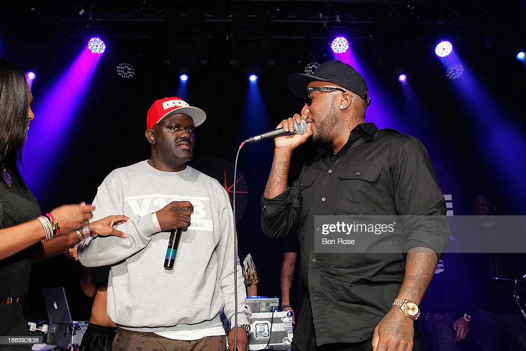 Radio personality Greg Street and rapper <a gi-track='captionPersonalityLinkClicked' href=/galleries/search?phrase=Young+Jeezy&family=editorial&specificpeople=537540 ng-click='$event.stopPropagation()'>Young Jeezy</a> attend BMI's 15th annual Unsigned Urban showcase at Terminal West on April 11, 2013 in Atlanta, Georgia.