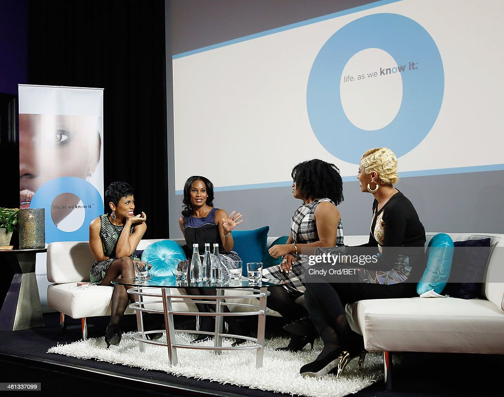 TV/ radio personality Jacque Reid, actress Robinne Lee, TV personality/ author Demetria Lucas and TV personality Dr.Rachael Ross speak onstage as BET Networks partners with OraQuick for 'Life As We Know It', a special panel series about relationships and an advance screening of the program 'Being Mary Jane' at The Crosby Hotel on January 7, 2014 in New York City.