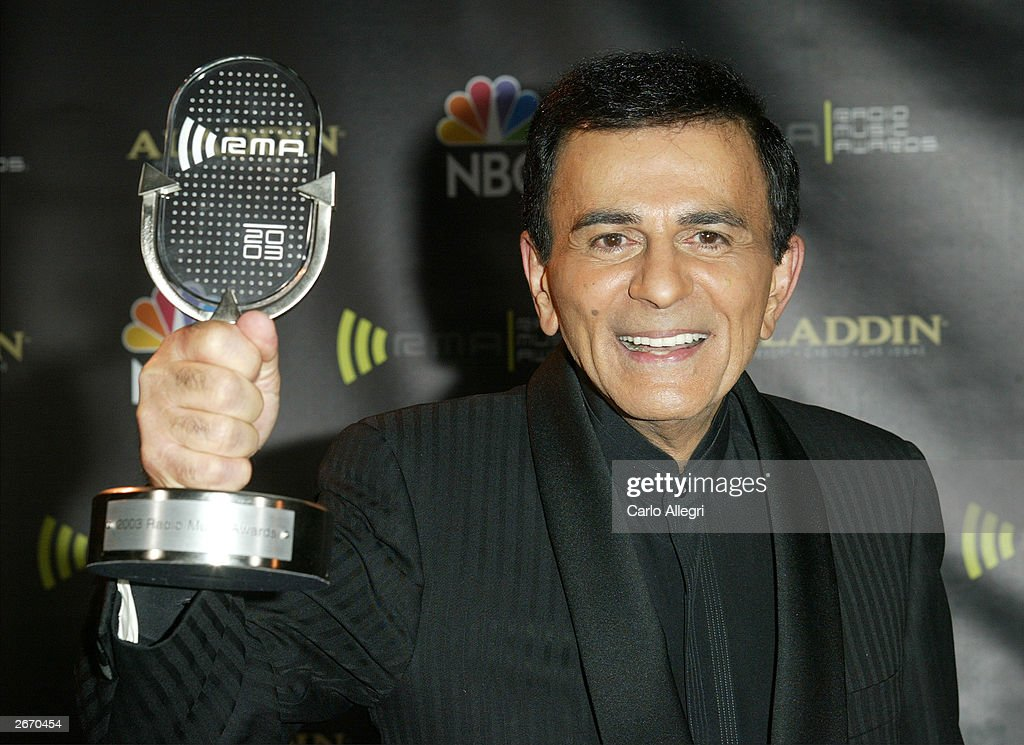 Radio Personality Kasey Casem with his award backckstage at The 2003 Radio Music Awards at the Aladdin Casino Resort October 27, 2003 in Las Vegas, Nevada.