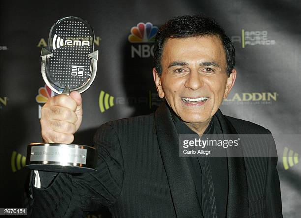 Radio Personality Kasey Casem with his award backckstage at The 2003 Radio Music Awards at the Aladdin Casino Resort October 27 2003 in Las Vegas...