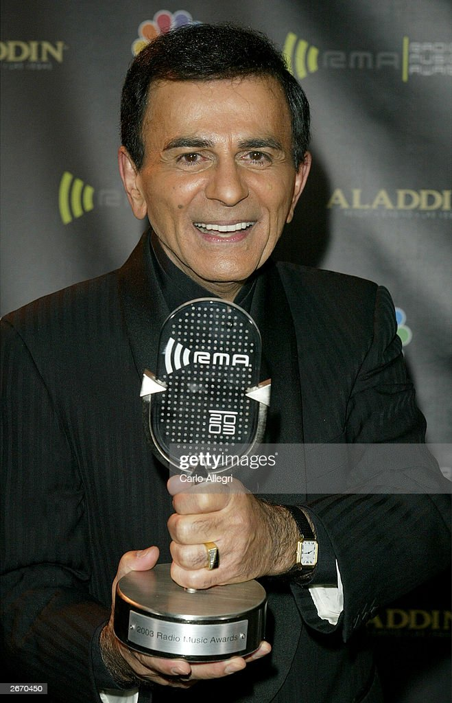 Radio Personality Kasey Casem with his award backstage at The 2003 Radio Music Awards at the Aladdin Casino Resort October 27, 2003 in Las Vegas, Nevada.