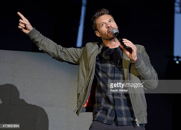 Radio personality Ryan Seacrest speaks ontage during 1027 KIIS FM's 2015 Wango Tango at StubHub Center on May 9 2015 in Los Angeles California