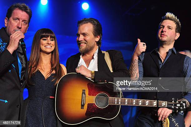 Radio personality Shawn Parr and music group Gloriana members Rachel Reinert Mike Gossin and Tom Gossin speak onstage at the 49th Annual Academy of...