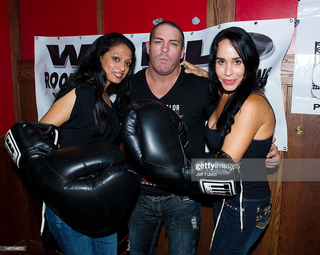 Radio personality Shila Damon Feldman and Nadya 'Octomom' Suleman pose at the Celebrity Pillow Fight Press Conference and Weigh In at the Fox And...
