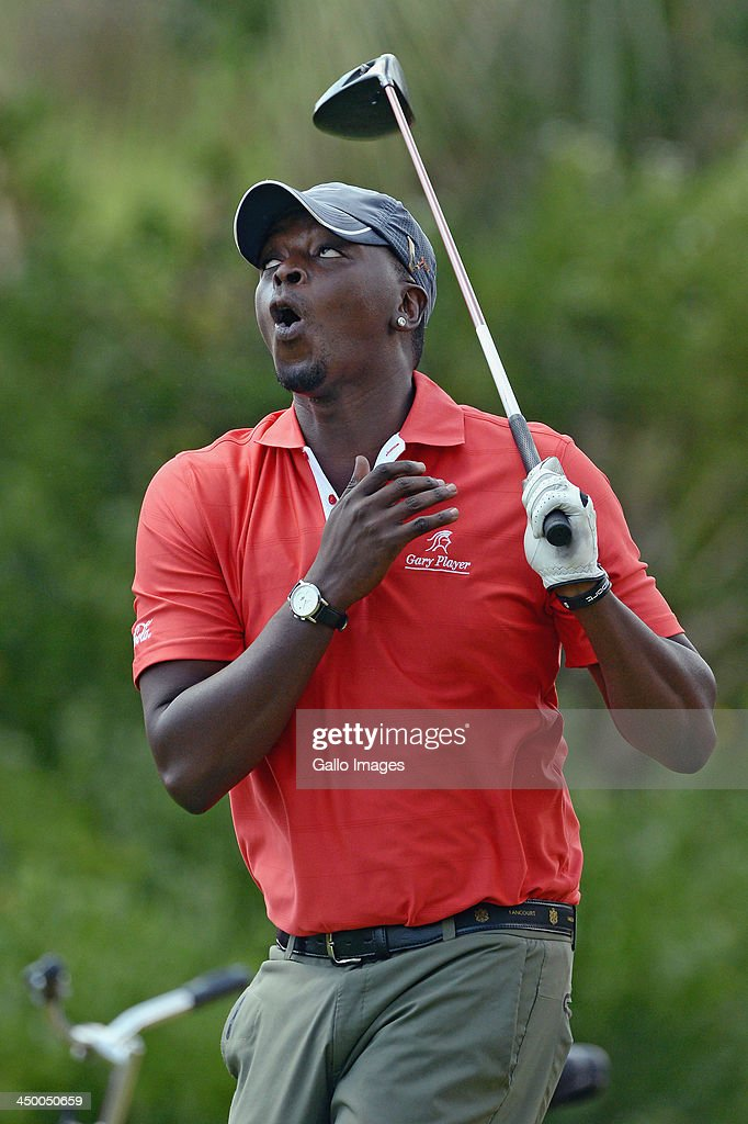 Radio Personality Thomas Msengena reacts during Round 1 of the Gary Player Invitational presented by Coca-Cola at The Lost City Golf Course on November 16, 2013 in Sun City, South Africa.