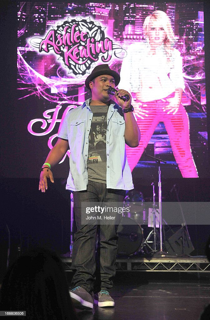 Radio personallity Manny Streetz introduces Ashlee Keating at the release party for Ashlee Keating's release of her new single and her new video at the Avalon on May 14, 2013 in Hollywood, California.