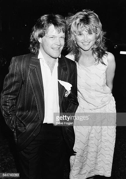 Radio presenter Bruno Brookes and his girlfriend Anthea Turner attending the birthday party of fellow disc jockey Alan Freeman circa 1985