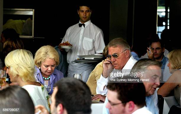 Radio Presenter John Laws and wife eating lunch at his restaurant Otto 4 December 2003 SMH Picture by BEN RUSHTON