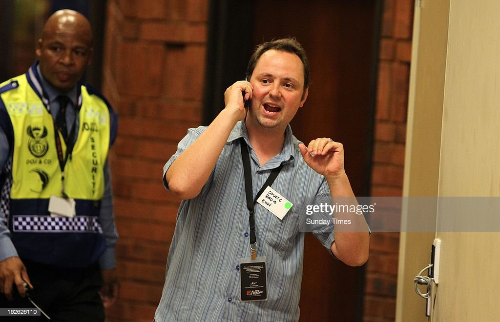 Radio reporter Barry Bateman at the Pretoria magistrate's court on February 22, 2013 in Pretoria, South Africa. Pistorius was released on R1 million bail after being accused of the murder of Reeva Steenkamp. Bateman gained 100 000 Twitter followers during the week of Pistorius' bail hearing.