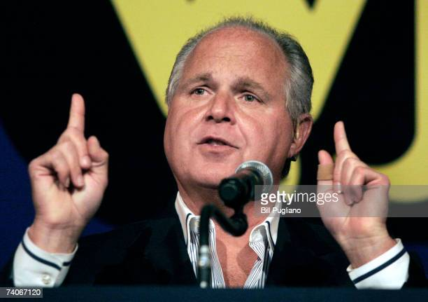 Radio talk show host and conservative commentator Rush Limbaugh speaks at 'An Evenining With Rush Limbaugh' event May 3 2007 in Novi Michigan The...
