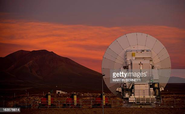 Radio telescope antennas of the ALMA project are seen in the Chajnantor plateau Atacama desert some 1500 km north of Santiago on March 122013 The...