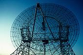 Radio telescope, close-up, low angle view