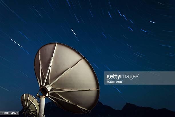 Radio Telescope Under Starry Sky