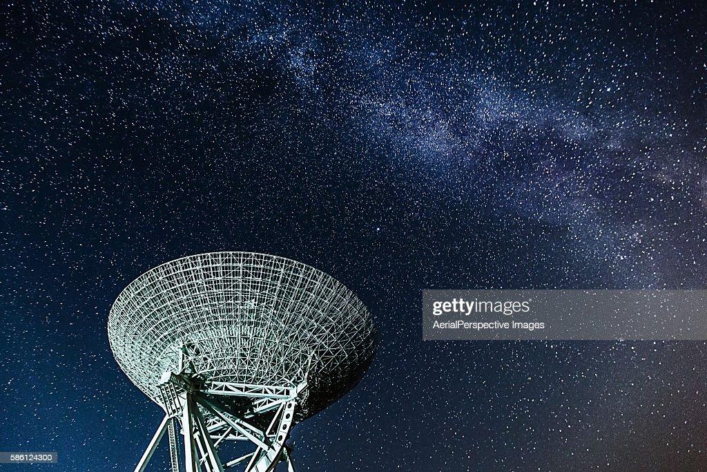 Radio Telescope Under The Milky Way