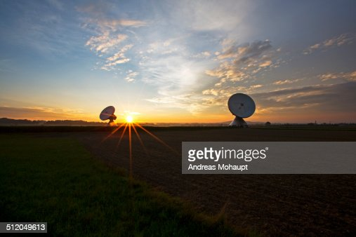 Radio telescopes at sunset