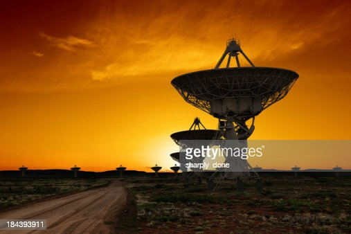 XL radio telescopes sunset