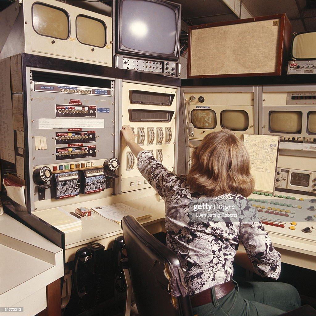 Radio Television Tv Producer Production Engineer Woman Working Sitting Retro. : Stock Photo