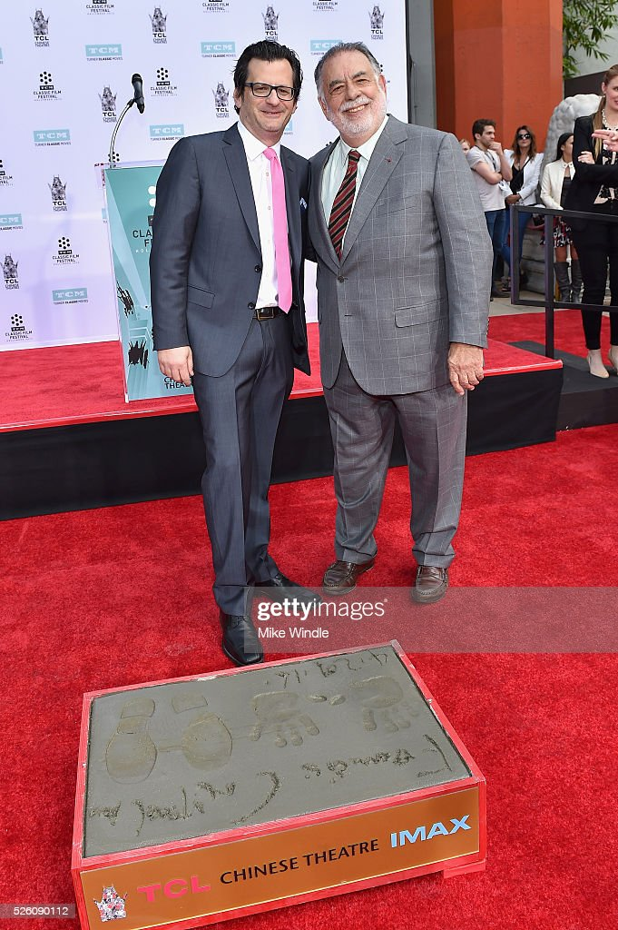 Radio & TV personality <a gi-track='captionPersonalityLinkClicked' href=/galleries/search?phrase=Ben+Mankiewicz&family=editorial&specificpeople=678440 ng-click='$event.stopPropagation()'>Ben Mankiewicz</a> (L) and honoree <a gi-track='captionPersonalityLinkClicked' href=/galleries/search?phrase=Francis+Ford+Coppola&family=editorial&specificpeople=204241 ng-click='$event.stopPropagation()'>Francis Ford Coppola</a> attend the <a gi-track='captionPersonalityLinkClicked' href=/galleries/search?phrase=Francis+Ford+Coppola&family=editorial&specificpeople=204241 ng-click='$event.stopPropagation()'>Francis Ford Coppola</a> Hand and Footprint Ceremony during the TCM Classic Film Festival 2016 on April 29, 2016 in Los Angeles, California. 25826_008